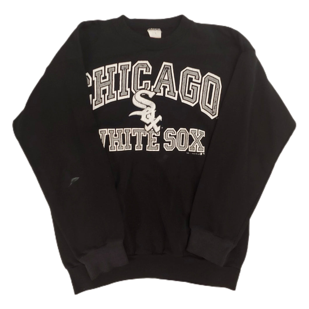 Vintage 90s Delta Mens M Chicago White Sox Crewneck Sweatshirt Black Usa Made