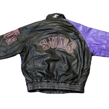 Load image into Gallery viewer, Vintage Rare NBA Phoenix Suns Shark Tooth Logo Athletic Leather Jacket XL EXCELLENT Condition