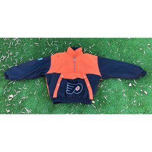 VINTAGE NUTMEG RARE NHL EASTERN CONFERENCE PHILADELPHIA FLYERS PULL OVER PUFF JACKET