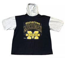 Load image into Gallery viewer, JOSTENS SPORTSWEAR UNIVERSITY OF MICHIGAN BLUE SHORT SLEEVE HOODED T-SHIRT XL