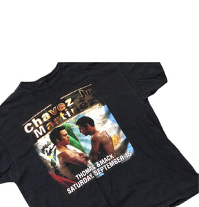 Boxing T Shirt Martinez Vs Chavez Jr Showdown Sz 2XL Black Vtg Vintage Rap Tee