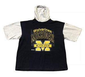 JOSTENS SPORTSWEAR UNIVERSITY OF MICHIGAN BLUE SHORT SLEEVE HOODED T-SHIRT XL