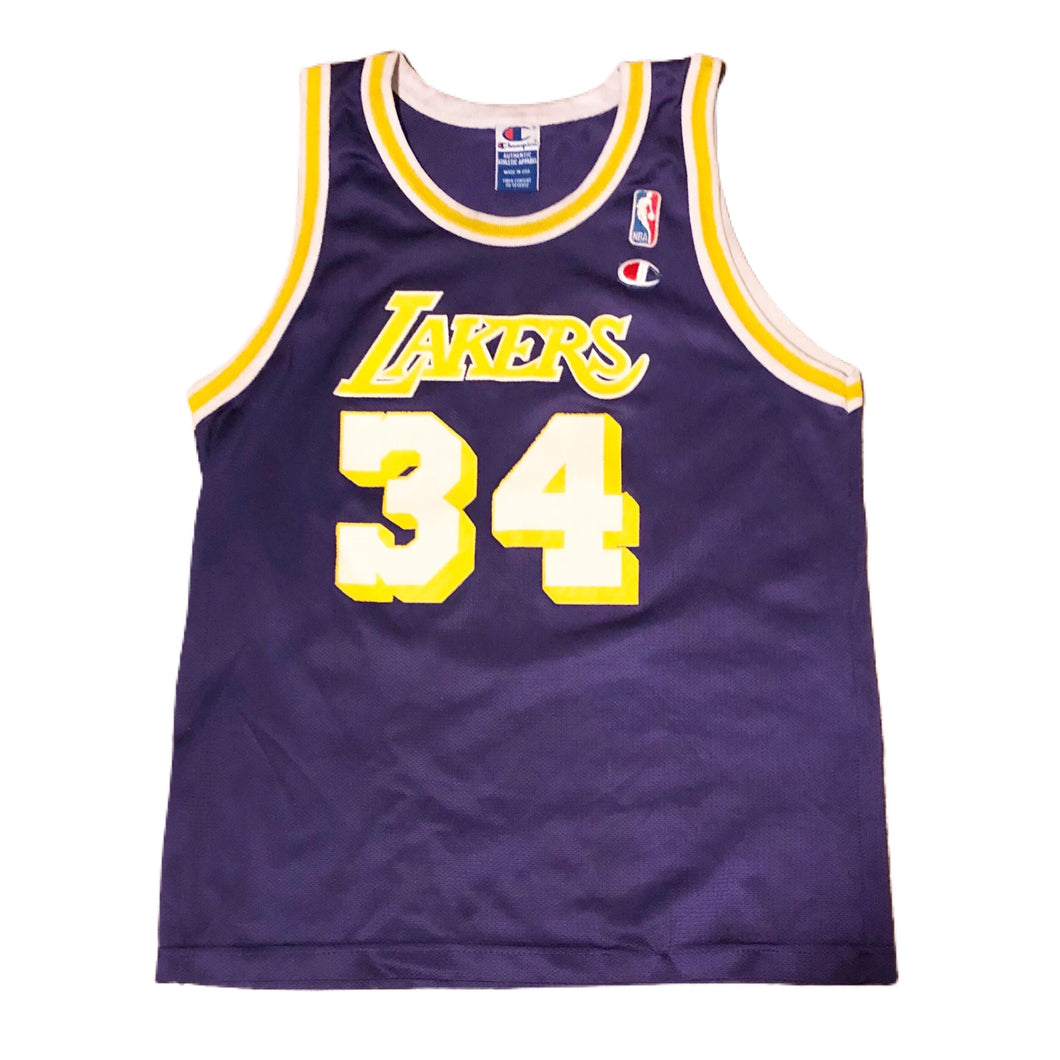 Vintage Lakers Shaquille Oneal Champion Jersey Kids size Large 14-16 Purple