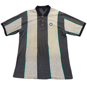 Vintage Mens Seattle Mariners Short Sleeve Striped Polo Antigua Gray Size XL