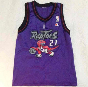 VINTAGE CHAMPION NBA MARCUS CAMBY TORONTO RAPTORS WOMENS V CUT JERSEY