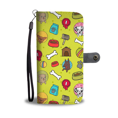 Colorful Dog Themed Cell Phone Wallet Case
