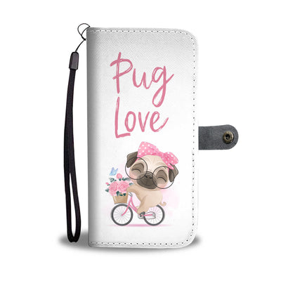 Pug Love Floral Bicycle Cell Phone Wallet Case