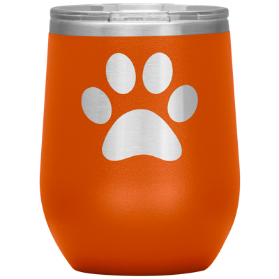 Paw Print 12 oz Stemless Wine Tumbler Etched/Engraved Stainless Steel Mug Hot/Cold - 13 Color Available