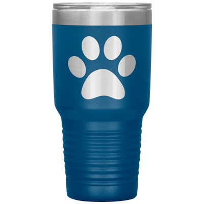 Paw Print 30 OZ Travel Tumbler | Etched / Engraved Stainless Steel Mug Hot/Cold Cup - 13 Colors Available