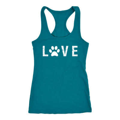 LOVE Paw Print LADIES RACERBACK TANK TOP WOMEN - PLUS SIZE XS-2XL - MADE IN THE USA