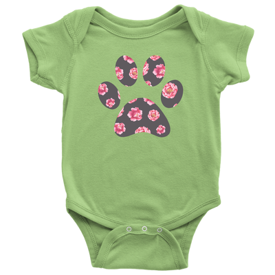 Sweet Floral Paw Baby Onesie 10 Colors AVAILABLE Size: Newborn - 24M - Infant Jersey Bodysuit - MADE IN THE USA
