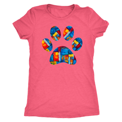 abstract art Puppy Paw Print - TriBlend T-shirt -  PLUS Size Tee S-2XL MADE IN THE USA by Model Paws