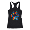 abstract art Puppy Paw Print - Ladies Racerback Tank Top Women - PLUS Size XS-2XL - MADE IN THE USA by Model Paws