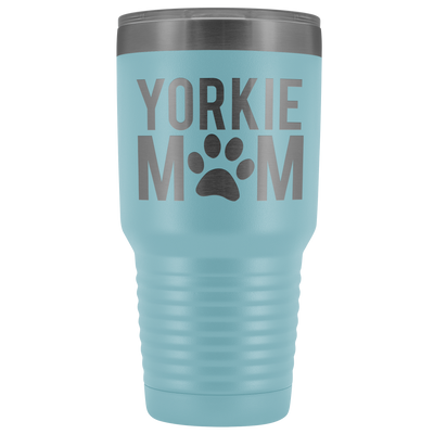 Yorkie Mom - 30 OZ Travel Tumbler | Etched / Engraved Stainless Steel Mug Hot/Cold Cup - 12 Colors Available