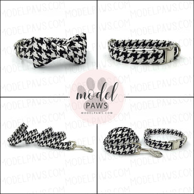 Houndstooth Dog Collar|Bowtie|Leash