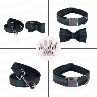 Hunter Green Plaid Dog Collar|Bowtie|Leash
