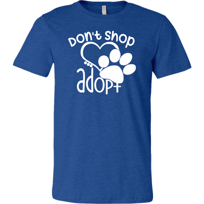 Don't Shop Adopt Paw Print - Unisex Style T-shirt Sizes S-3XL
