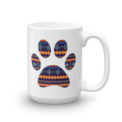 Coffee Cup Tribal Puppy Paw Print Mug