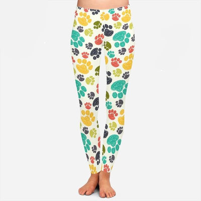 Colorful Dog Puppy Paw Print Leggings - 3 Colors