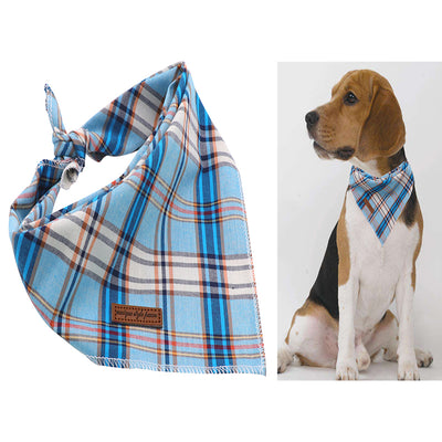 Blue Plaid & Polka Dot Bandana Set 2/pk