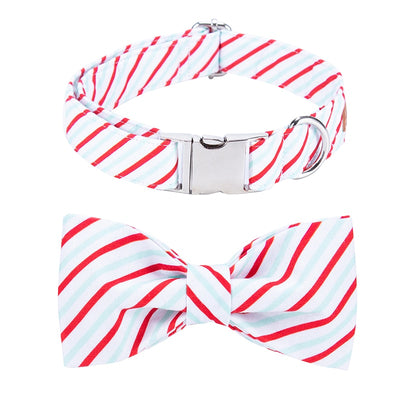 Christmas Peppermint Stripe Dog Collar|Bowtie|Leash