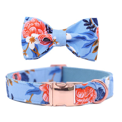 Blue Floral DOG COLLAR|BOWTIE