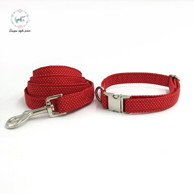 Red & White Polka Dots Dog Collar|Bowtie|Leash