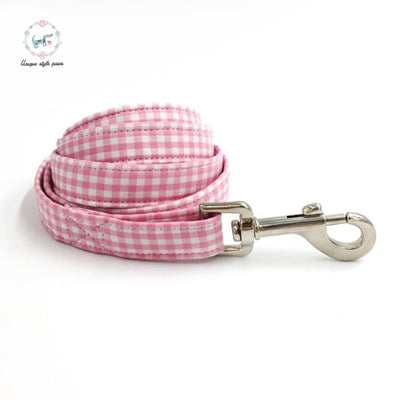 Pink Checkered Dog Collar|Bowtie|Leash