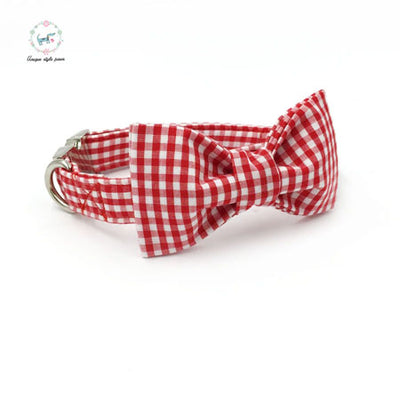 Red Checkered Dog Collar|Bowtie|Leash