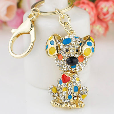 Dalmatian Dog Red Heart Crystal Rhinestone Keychain