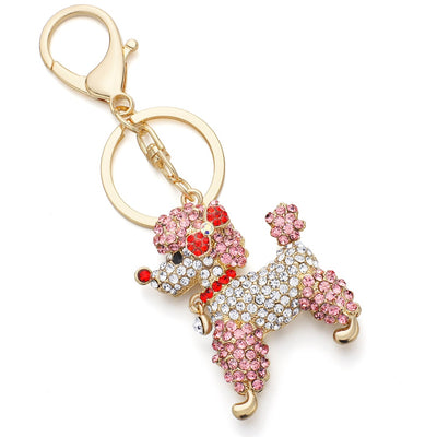 Lovely Poodle Dog Bowknot Crystal Rhinestone Keychain - 4 Colors