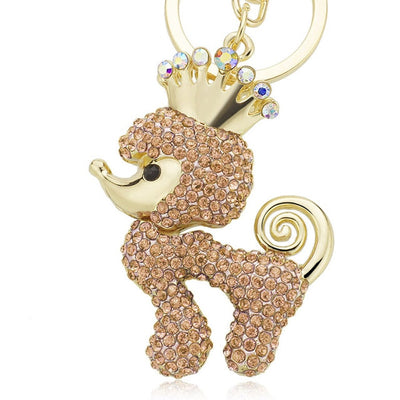 Crown Poodle Dog Crystal Rhinestone Keychain - 4 Colors