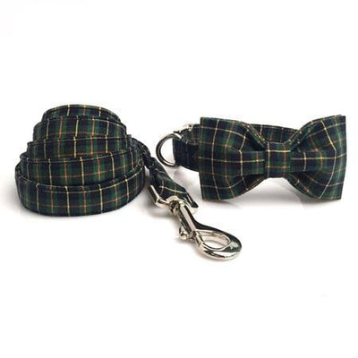 Green Piper Plaid Dog Collar|Bowtie|Leash