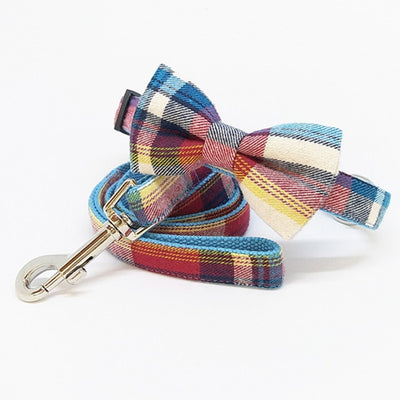 Pastel plaid Collar|Bowtie|Leash