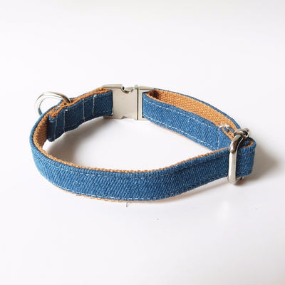 Denim Jeans Bowtie Dog Collar & Leash
