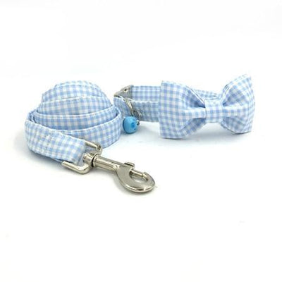 Blue Plaid Collar|Bowtie|Leash