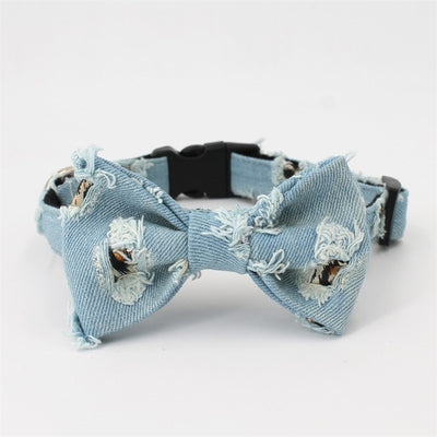 Worn Denim Jeans Bowtie Dog Collar Harness & Leash