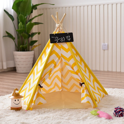 Yellow Chevron Pet Teepee