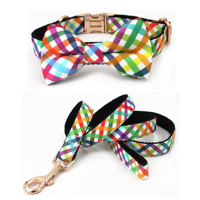 Rainbow Plaid Bowtie Dog Collar & Leash