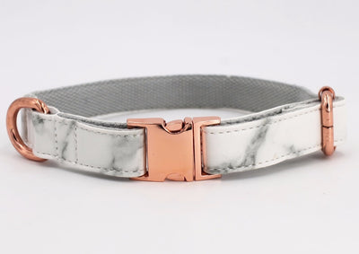 Marble Dog Collar & Leash Faux Leather