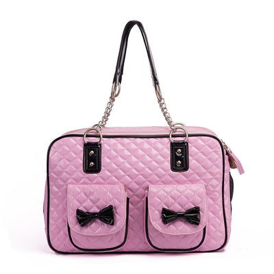 Luxury Pet Dog Travel Bowtie Carrier purse - 2 Colors
