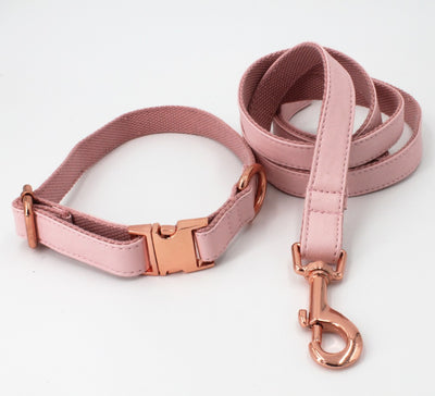 Pink Faux Leather Dog Collar & Leash
