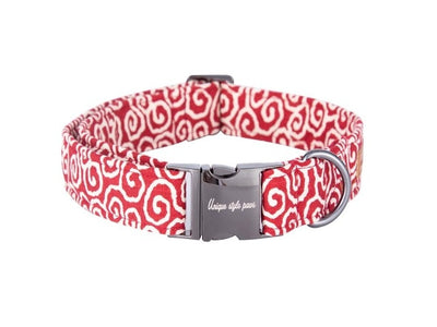 Sweet Swirls Red Dog Collar|Bowtie|Leash