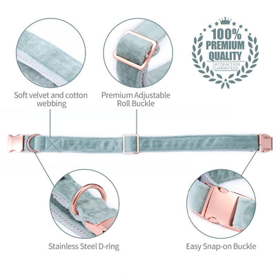 Mint Green Velvet - Rose Gold Pet Collar & Leash