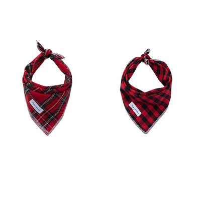 Christmas Holiday Plaid Bandana Set 2/pk