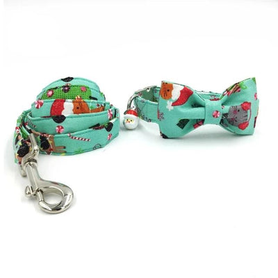 Santa Claus Merry Christmas Dog Collar|Bowtie|Leash
