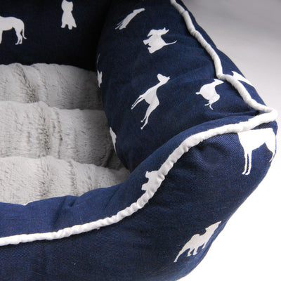 Dog Breeds Pet Bed Blue or Grey