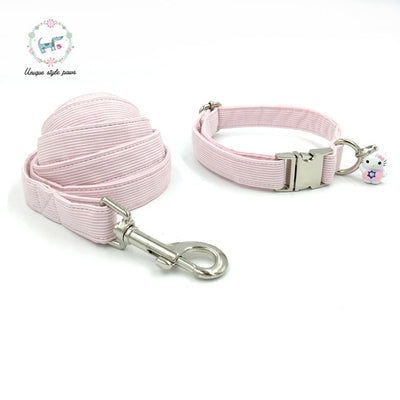 Pink Striped Dog Collar|Bowtie|Leash