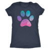 Pastel Watercolor Puppy Paw Print - TriBlend T-shirt -  PLUS Size Tee S-2XL MADE IN THE USA by Model Paws