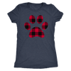Buffalo Plaid Puppy Paw Print TriBlend T-shirt - PLUS Size Tee S-2XL MADE IN THE USA